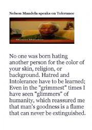 English Worksheet: Nelson Mandela speaks on tolerance