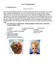 English Worksheet: evening hairstyles