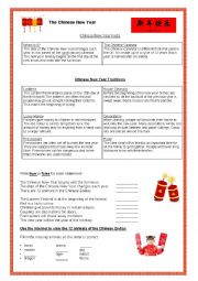 English Worksheet: Chinese New Year Fact File