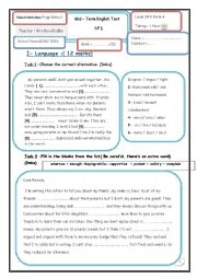 English Worksheet: listening test for 9th
