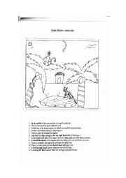 English Worksheet: Picture Dictation (Teacher Copy) - Jungle Night