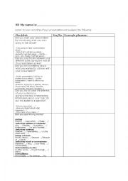 English Worksheet: Self evaluation form on recorded presentations