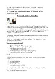 English Worksheet: Volunteering in a charity shop