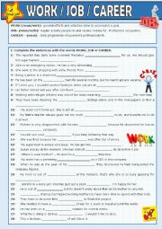 English Worksheet: Work, job, career