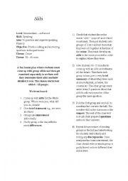 English Worksheet: Alibi