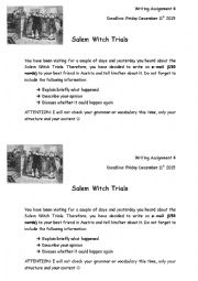 English Worksheet: Salem Witch Trials