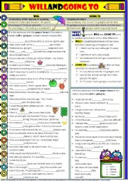 English Worksheet: Will and Going to - explanations and exercises