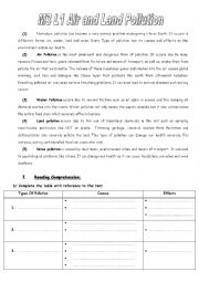 english worksheets m3l1 air and land pollution. Black Bedroom Furniture Sets. Home Design Ideas