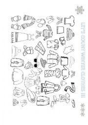 English Worksheet: WINTER CLOTHES: COUNT AND COLOR