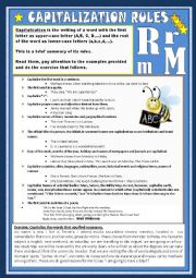 English Worksheet: capitalization rules