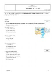 English Worksheet: Test about studying abroad