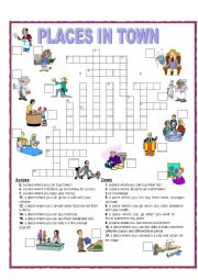english worksheets crossword placesin town. Black Bedroom Furniture Sets. Home Design Ideas