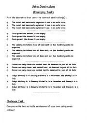 english worksheets using semi colons multiple choice. Black Bedroom Furniture Sets. Home Design Ideas