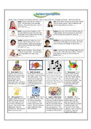 English Worksheet: Multiple Intelligences PET Style Reader