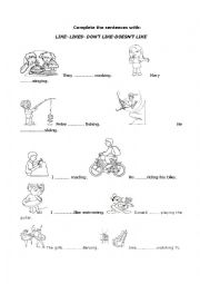 English Worksheet: The verb like+ ing form