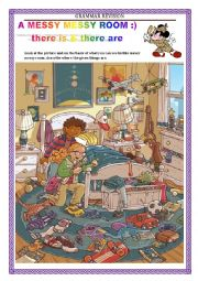 English Worksheet: GRAMMAR REVISION - there is there are  - A MESSY MESSY ROOM
