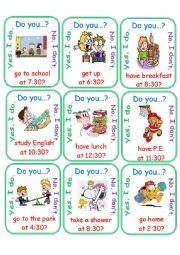 English Worksheet: Routines Half Hour Go Fish