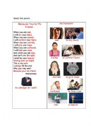 English Worksheet: BECAUSE YOU ARE MY FRIEND (a poem + questions)