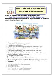 English Worksheet: Who�s Who and Where are they?