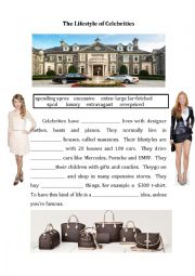 English worksheet: The Life of Celebrities - using vocabulary from New Cutting Edge