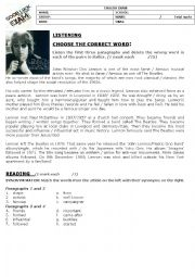 English Worksheet: John Lennon test