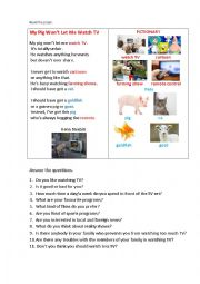 English Worksheet: MY PIG WON�T LET ME WATCH TV (a poem + questions)