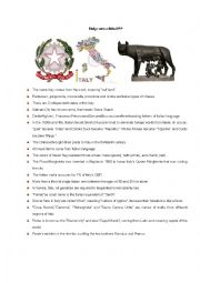 English Worksheet: italy true or false
