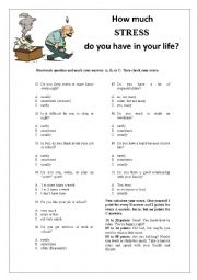 English Worksheet: How much stress do you have in your life? Survey