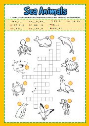 English Worksheet: Sea Animals - Crossword
