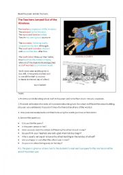 English Worksheet: THE TEACHERS JUMPED OUT OF THE WINDOWS (a poem + questions)