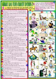 English Worksheet: Free time activities: understanding and completing sentences