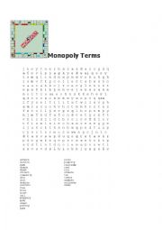 English Worksheet: Monopoly Terms Word Search