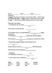 English Worksheet: Pocahontas Grammar worksheet