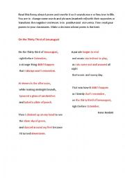English Worksheet: ON THE THIRTY THIRD OF JANUAUGUST ( a poem + a writing task)