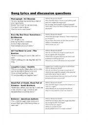 English worksheet: Song lyrics to stimulate discussion