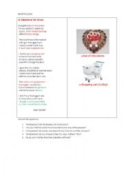 English Worksheet: A VALENTINE FOR MOM (a poem + questions)