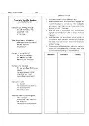 English Worksheet: Marking A Poem