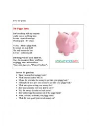 English Worksheet: MY PIGGY BANK (a poem+ questions)