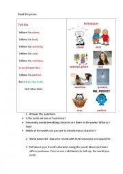 English Worksheet: TELL ME (a poem + speaking tasks)