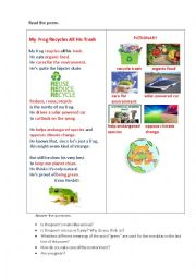 English Worksheet: MY FROG (a poem+ questions)