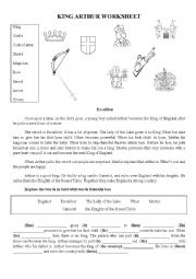 KING ARTHUR worksheet