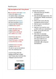 English Worksheet: MY SMARTPHONE ISN�T VEERY SMART (a poem + questions)