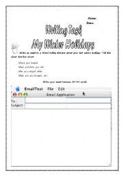English Worksheet: WRITING TASK: �MY WINTER HOLIDAYS� PET EXAM PRACTICE Level B1