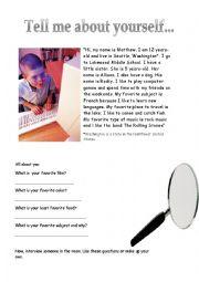 english worksheets tell me about yourself beginner english worksheet. Black Bedroom Furniture Sets. Home Design Ideas