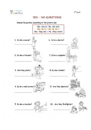 English Worksheet: professions(yes -no questions)