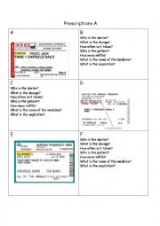 English Worksheet: reading prescription information gap