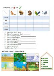 English Worksheet: ANIMALS CAN AND HABITATS