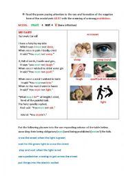 English Worksheet: MY FAIRY (a poem + a grammar task)