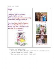 English Worksheet: HUGS (a poem + questions)