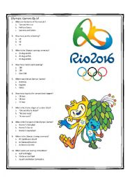 English Worksheet: Olympic Games - Rio 2016